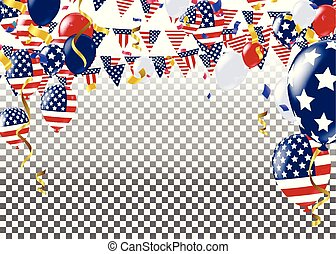 Fourth of July. 4th of July holiday banner. USA Independence Day banner for sale, discount, advertisement, Balloons Flag USA