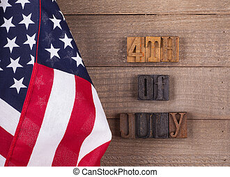 Fourth of July Banner and the American Flag