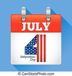 Fourth of July Calendar Icon American Independence Day Symbol