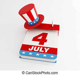 fourth of july calendar with uncle Sam's hat - rendering