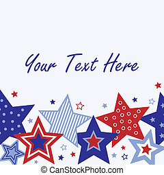 Fourth of July Card - An illustration of red, white and blue...