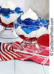 Fourth of July Dessert - Gelatin layered dessert of cubes of...