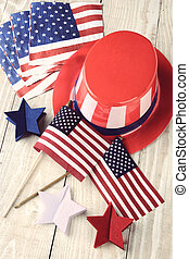 Fourth Of July Display - High angle shot of assorted items...