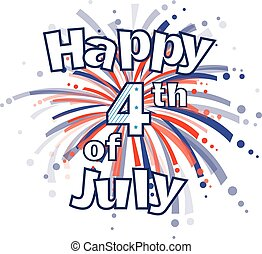 Fourth of July Fireworks - Happy 4th of July clip art with...