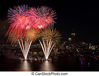 Fourth of July Fireworks in Boston - Aerial view of the 4th...