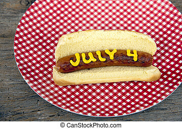 Fourth of July hot dog - Yellow mustard on hot dog for 4th...