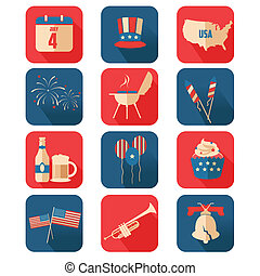 Fourth of July icons - A vector illustration of Fourth of...