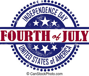 Fourth of July Independence Day - A vintage rubber stamp...