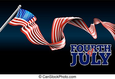 Fourth of July Independence Day American Flag Design - A...