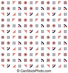 Fourth of July -Independence Day. Seamless pattern in traditional red, blue and white colors. Vector illustration.