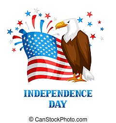 Fourth of July Independence Day print. American patriotic illustration.