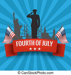 Fourth of July. Independence day background with usa flag