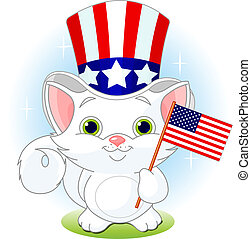 Fourth of July kitten - White kitten holding American flag. ...
