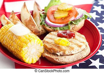 Fourth of July Picnic - Turkey Burger - Delicious low-fat...