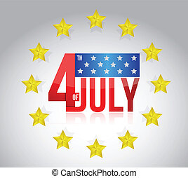 fourth of july sign and golden stars. illustration