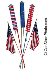 Fourth of July skyrockets and US flags