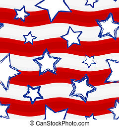 Fourth of July Stars and Stripes Se - Seamless background...