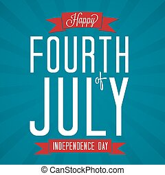 Fourth of July Vector Illustration with Banners.