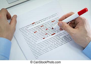 fout, gedurende, spellchecking, rood, tekening, tekst, potlood