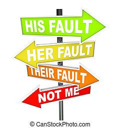 fout, -, schuld, schifting, richtingwijzer, tekens & borden...