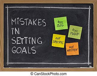 fouten, in, plaatsende doelstellingen