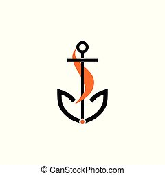 Fox and anchor vector illustration