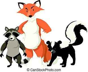 Fox and raccoon on white background