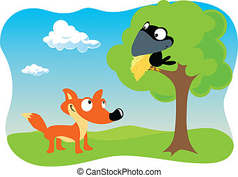 Fox and the Raven with cheese holding in beak