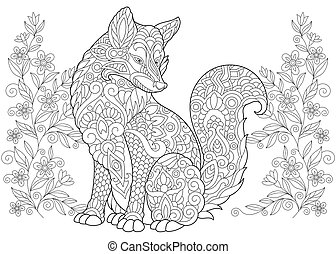 Fox and wildflowers - Wild Fox and summer or spring Flowers....