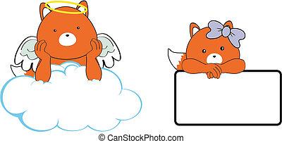 fox angel cartoon copyspace