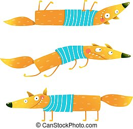 Fox animal character in clothes cartoon set - Fox animal fun...