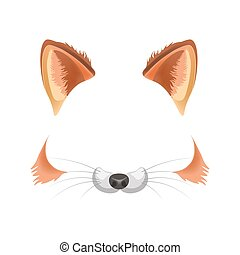 Fox animal face filter template video chat photo effect...