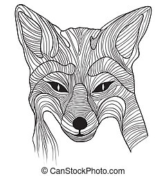 Fox animal sketch tattoo symbol illustration. Foxy dog t-shirt vector icon. Travel design.