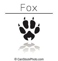 Fox animal track with name and reflection on white ...