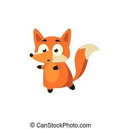 Fox Carefully Walking Away Adorable Cartoon Style Flat...