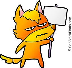 fox cartoon character with protest sign