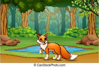 Fox cartoon living in the jungle