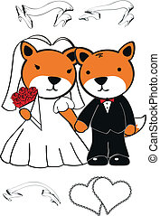 fox cartoon wedding set