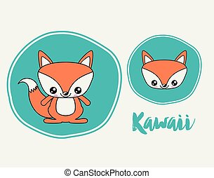 fox character kawaii style isolated icon design