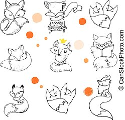 Fox characters, cute, lovely illustrations - Fox characters ...