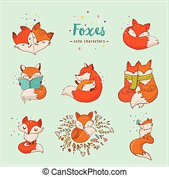 Fox characters, cute, lovely illustrations - Fox characters...