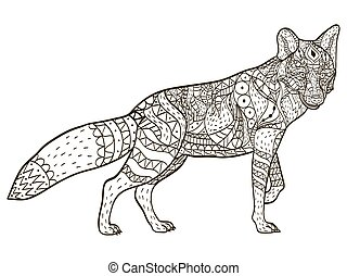 fox coloring book vector for adults - Fox Coloring Book