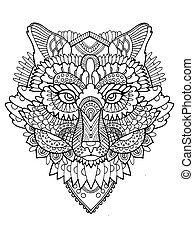 Fox coloring book vector illustration