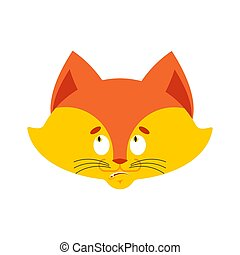 Fox confused emoji oops face avatar. Wild beast perplexed emotions. she-fox surprise. Vector illustration