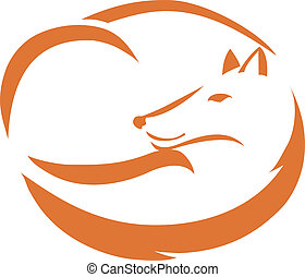 orange outline of a curled up fox vector