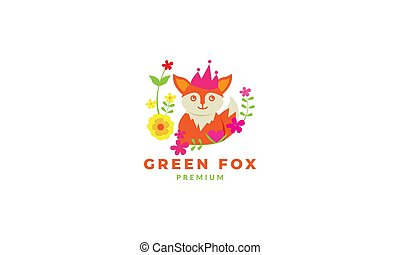 fox cute cartoon happy with flower abstract logo icon vector illustration