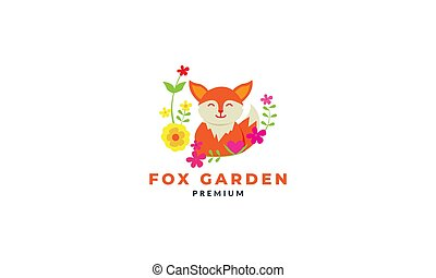 fox cute cartoon happy with plant abstract logo icon vector illustration
