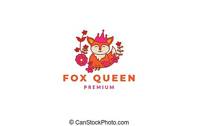 fox cute cartoon happy with plant flower logo icon vector illustration