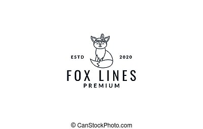 fox  cute  cartoon line with head fur logo icon vector illustration
