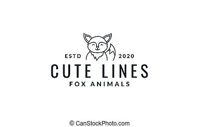 fox cute cartoon smile  line logo icon vector illustration